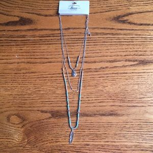 3 tier turquoise silver Bass necklace